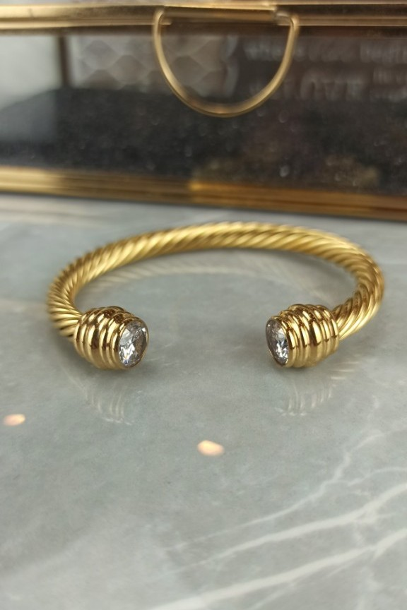 βραχιόλι-χειροπέδα-ατσάλι-πέτρα-χρυσό