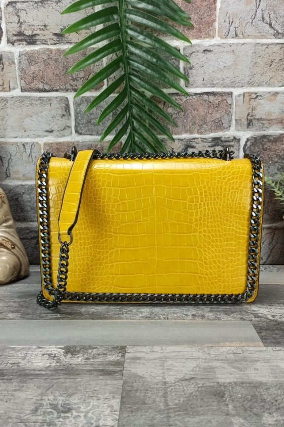 τσάντα-ώμου-κροκό-αλυσίδα-κίτρινη