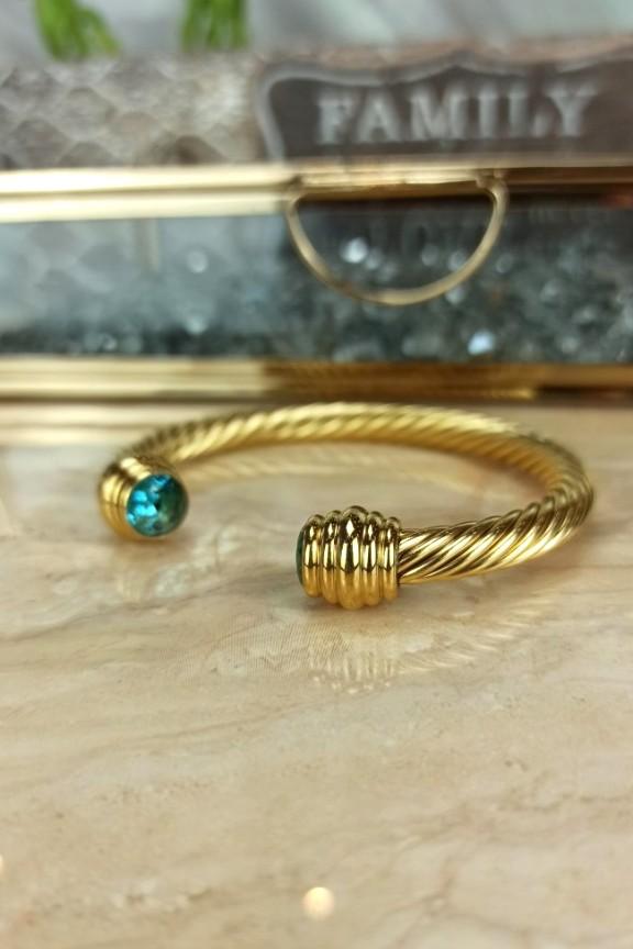 βραχιόλι-χειροπέδα-ατσάλι-γαλάζια-πέτρα-χρυσό