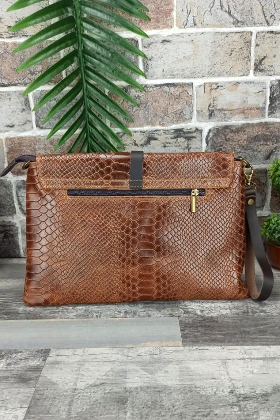 δερμάτινη-τσάντα-φάκελος-κροκό-καφέ