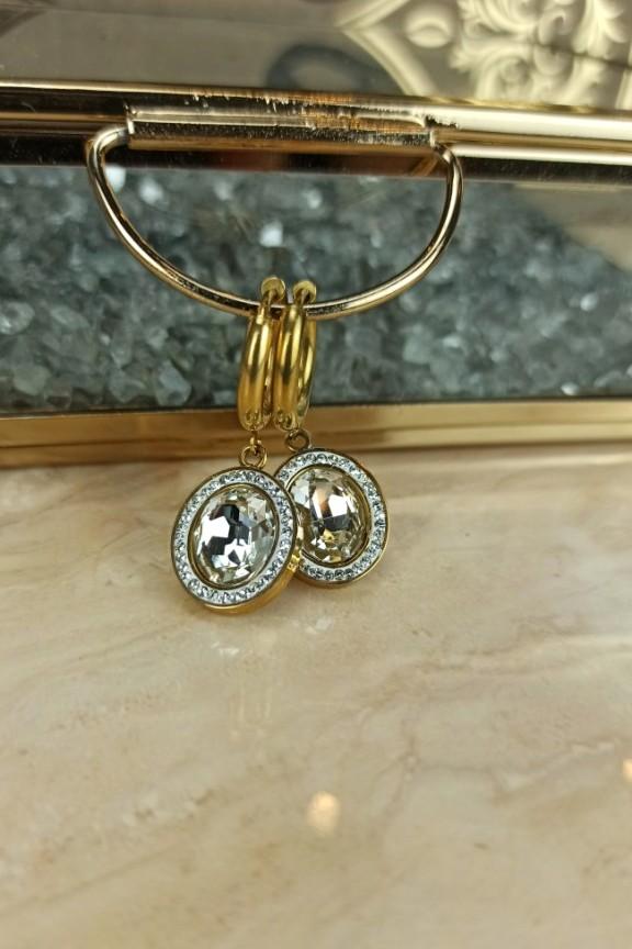 σκουλαρίκια-κρίκοι-πέτρα-ατσάλι-χρυσοί