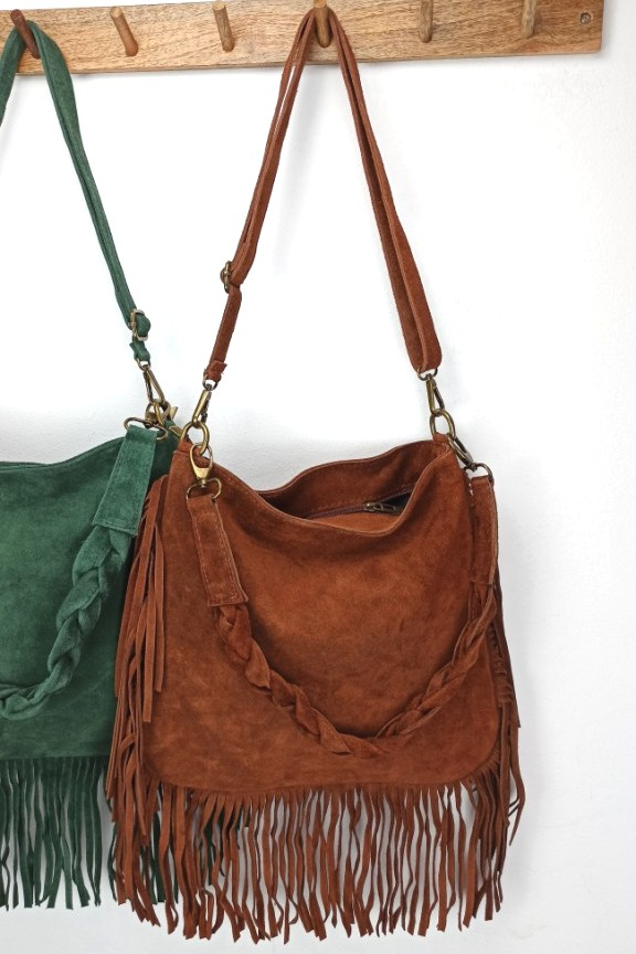 δερμάτινη-τσάντα-κρόσσια-καφέ