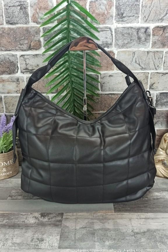 τσάντα-καρό-καπιτονέ-μαύρη