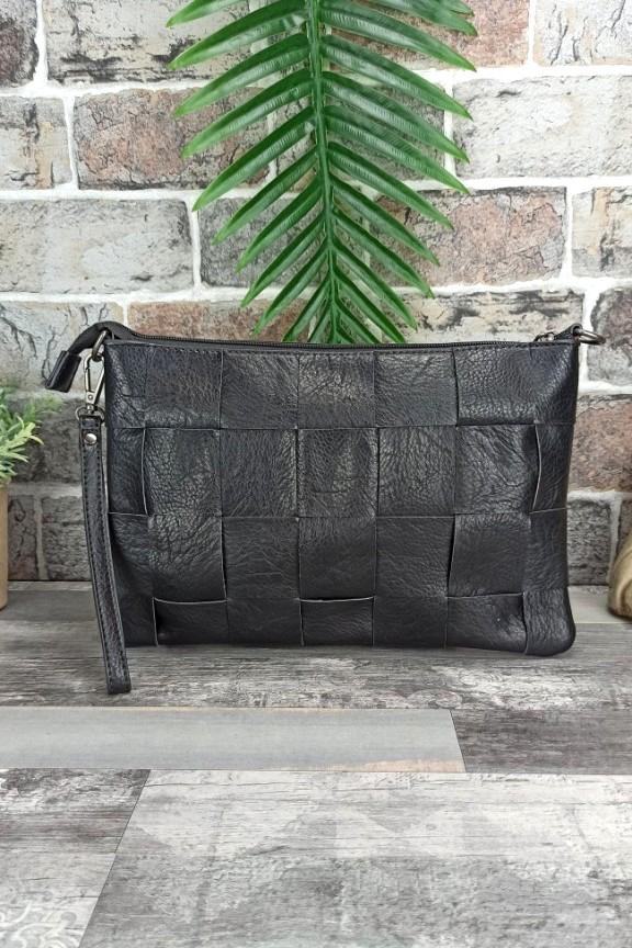 τσάντα-φάκελος-πλεκτός-μαύρος