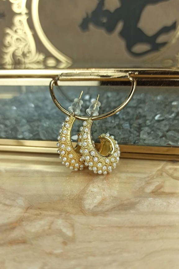 σκουλαρίκια-πέρλες-ατσάλι-χρυσά