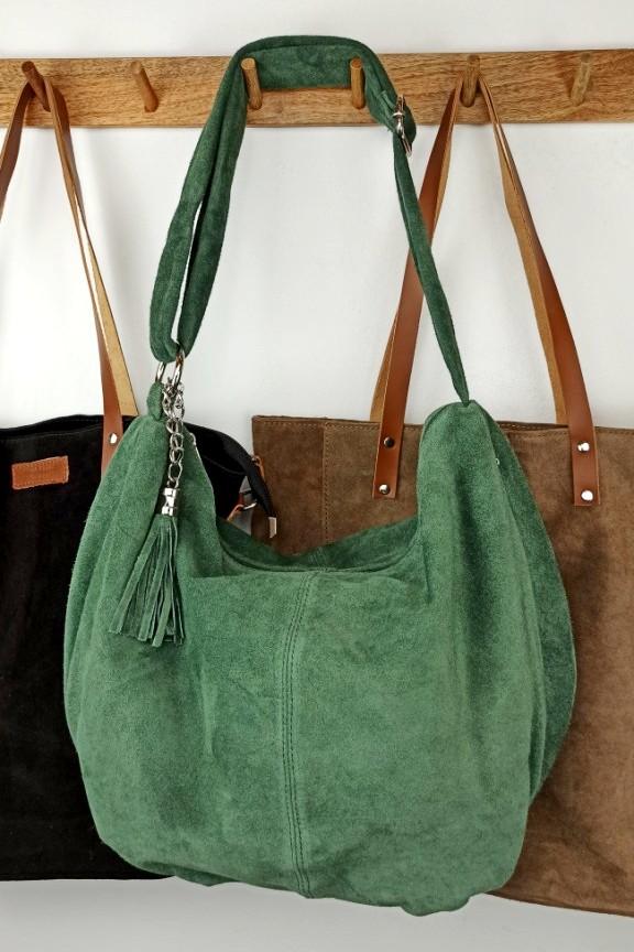 δερμάτινη-τσάντα-καστόρι-hobo-πράσινη
