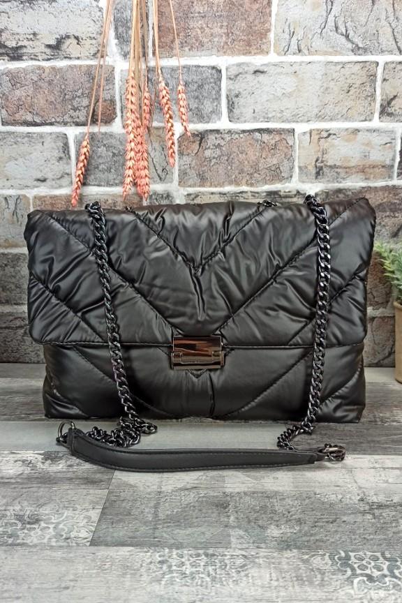 τσάντα-ώμου-puffer-μαύρη
