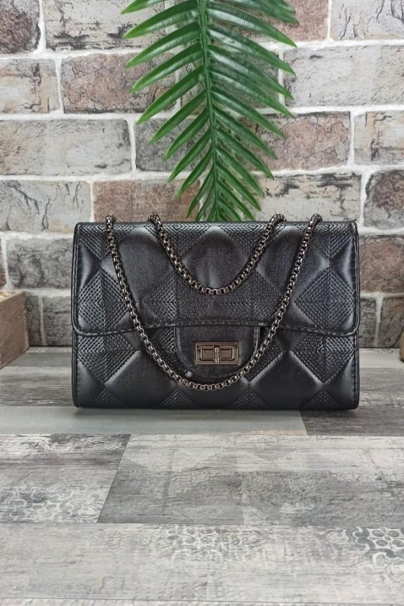 τσάντα-ώμου-καπιτονέ-μαύρη