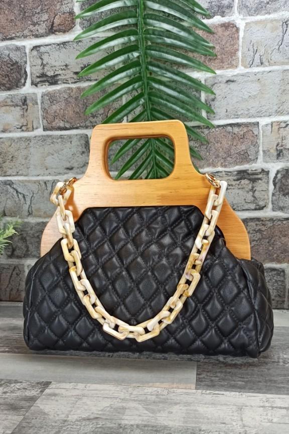 τσάντα-ξύλινη-λαβή-κοκάλινη-αλυσίδα-μαύρη