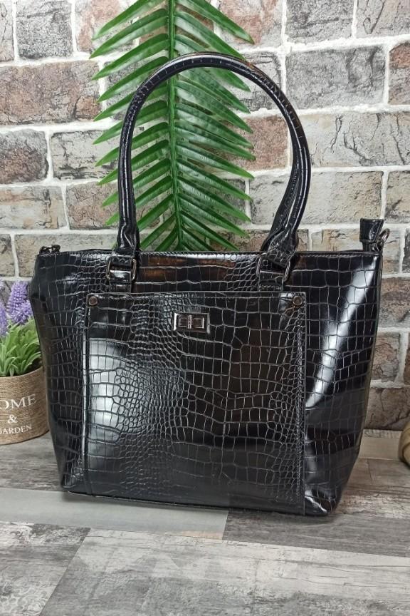 τσάντα-κροκό-μαύρη-δερματίνης
